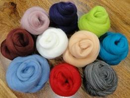 Filzwolle - 10 schöne Farben super zum Trockefilzen und Naßfilzen, ca. 100gr - 10 Knäuele - 1