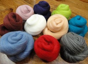 Filzwolle - 10 schöne Farben super zum Trockefilzen und Naßfilzen, ca. 100gr - 10 Knäuele - 2