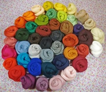 Filzwolle - 45 Stück, ideal zum Trockenfilzen und Naßfilzen, ca. 500gr. leuchtende Farben - 1