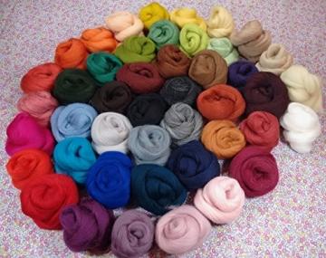 Filzwolle - 45 Stück, ideal zum Trockenfilzen und Naßfilzen, ca. 500gr. leuchtende Farben - 4