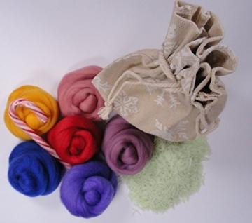 Filzwolle - Kunterbunte Farbmischung zu Weihnachten - Merino Kammzug zum filzen - 1