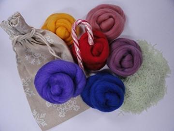 Filzwolle - Kunterbunte Farbmischung zu Weihnachten - Merino Kammzug zum filzen - 3