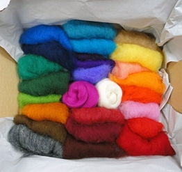 Filzwolle Vlies in bunten Fetzen - 25 Farben, insgesamt ca. 100 Gramm plus 2 Knäuel Merino Filzwolle - 1