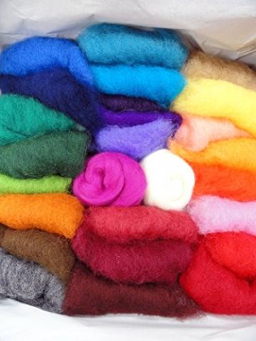 Filzwolle Vlies in bunten Fetzen - 25 Farben, insgesamt ca. 100 Gramm plus 2 Knäuel Merino Filzwolle - 2