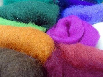 Filzwolle Vlies in bunten Fetzen - 25 Farben, insgesamt ca. 100 Gramm plus 2 Knäuel Merino Filzwolle - 3