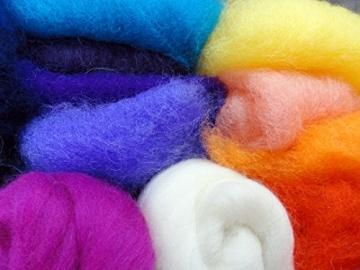 Filzwolle Vlies in bunten Fetzen - 25 Farben, insgesamt ca. 100 Gramm plus 2 Knäuel Merino Filzwolle - 5