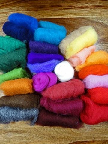 Filzwolle Vlies in bunten Fetzen - 25 Farben, insgesamt ca. 100 Gramm plus 2 Knäuel Merino Filzwolle - 6